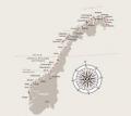 La carte du voyage, de Bergen à Kirkenes