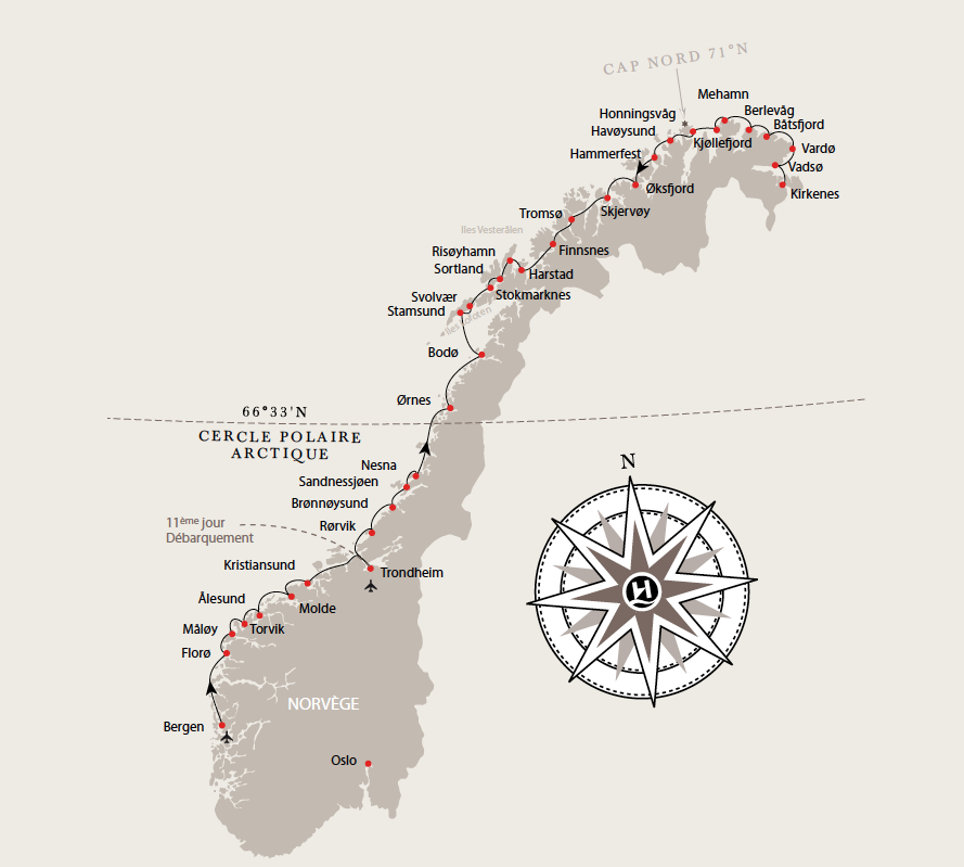 Hurtigruten carte express cotier